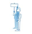 businessman in suit man holding blank billboard vector image