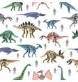 dnosaurs seletons silhouettes bone animal and vector image