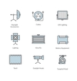 Icons studio lighting and accessories for vector image