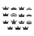 Set of black and white royal crowns vector image