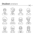 Set of student avatars Stock icons vector image
