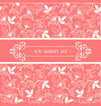 you marry me retro flower pink background i vector image
