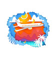 tropic paper art with aircraft vector image