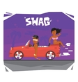 Swag luxury guy and girl in sport car vector image