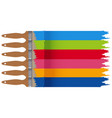 colorful paints on paintbrushes vector image