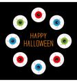 Eyeballs with bloody streaks Round frame on black vector image