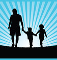 family walking in nature silhouette color vector image