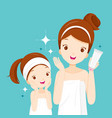 mother and daughter happy with clean faces vector image