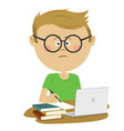 unhappy boy pupil sitting with books and loptop vector image