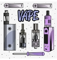 Vape device and parts Smoking vector image