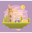 Flat with mill and tractor vector image
