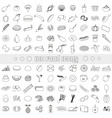 hundred various food and drink outline icons big vector image