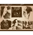 people faces sketch drawings set vector image