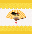 chinese new year background with paper fan year vector image