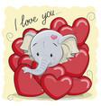 cute cartoon elephant in hearts vector image