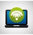 laptop icon wifi social media vector image