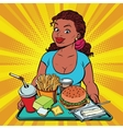 Lifestyle young woman and a fast food lunch in the vector image