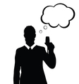 man with speech bubble and glass in hand vector image