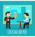 Waiter brought cocktail to visitor table in the vector image