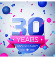 Thirty years anniversary celebration on grey vector image