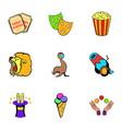 entertaining show icons set cartoon style vector image