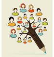 Diversity people concept pencil tree vector image vector image