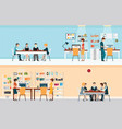 office people with office desk vector image vector image