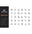 30 bathroom line icon vector image