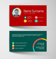 Modern red and teal business card template with vector image vector image