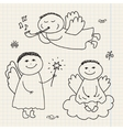 set of doodle hand drawn christmas cartoon vector image
