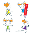 cartoon little schoolgirl vector image