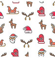 christmas theme seamless pattern set of symbols vector image