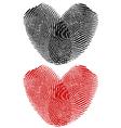 Finger prints in heart shape vector image