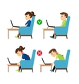 Incorrect and Correct laptop use position vector image