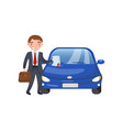 insurance agent showing paper document car vector image