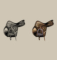 leather equestrian saddle hand drawn vector image