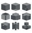 Modern dark cube icons set vector image