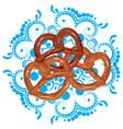tasty cartoon pretzel vector image