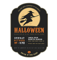 Vintage Halloween invitation with flying witch vector image