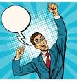 Business man the winner comic bubble vector image