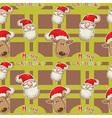 santa deer seamless big redgreen2 vector image vector image