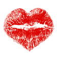 Lipstick kiss in heart shape vector image