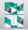 green triangle business trifold leaflet brochure vector image