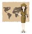 Woman presents the geography of travel vector image