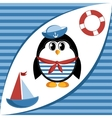 Cartoon sailor penguin vector image