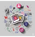 Images and collage with web icons background vector image vector image