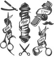 set of hair salon labels in vintage vector image