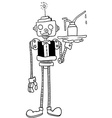 black and white robot waiter vector image
