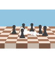 Group of black chess pawns defeat the white king vector image