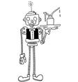 black and white robot waiter vector image